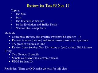 Review for Test 3 Nov 17