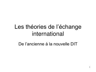 Les th ories de l  change international