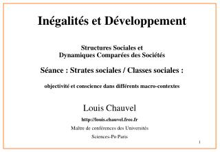 Louis Chauvel  louis.chauvel.free.fr  Ma tre de conf rences des Universit s  Sciences-Po Paris