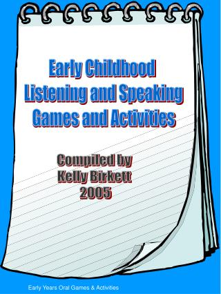 Early Years Oral Games  Activities