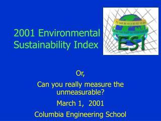 2001 Environmental Sustainability Index
