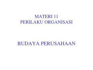 MATERI 11 PERILAKU ORGANISASI
