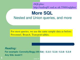 More SQL  Nested and Union queries, and more