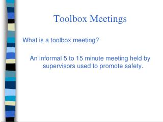 Toolbox Meetings