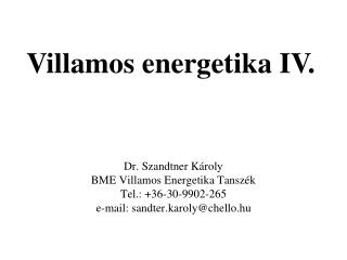 Villamos energetika IV.