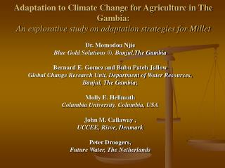 Adaptation to Climate Change for Agriculture in The Gambia:  An explorative study on adaptation strategies for Millet