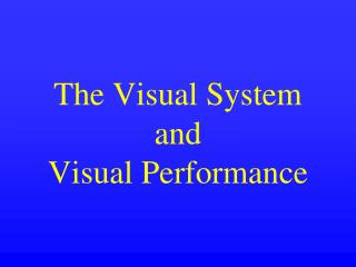 The Visual System and Visual Performance