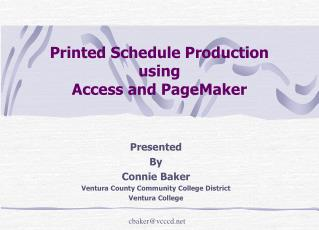 Printed Schedule Production using Access and PageMaker