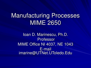 Manufacturing Processes MIME 2650