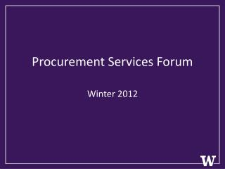Procurement Services Forum