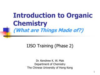 Introduction to Organic Chemistry  What are Things Made of