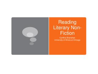 Reading Literary Non-Fiction