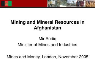 Mining and Mineral Resources in Afghanistan