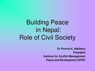 Building Peace  in Nepal: Role of Civil Society