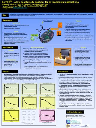 SciTOXTM - a low cost toxicity analyser for environmental applications N Glithero1, J Hay1, N Pasco1, D Patterson2, R Wa