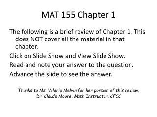 MAT 155 Chapter 1