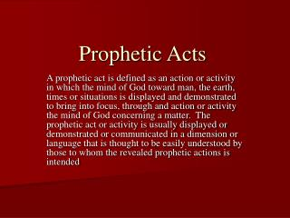 Prophetic Acts