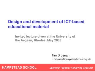 Design and development of ICT-based educational material