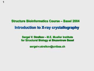 Structure Bioinformatics Course   Basel 2004