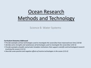 Ocean Research  Methods and Technology