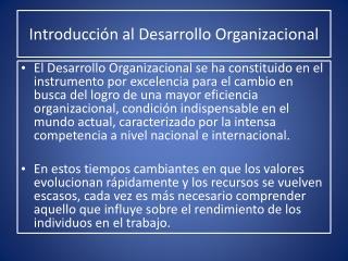 Introducci n al Desarrollo Organizacional