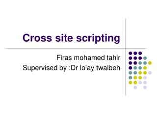 Cross site scripting
