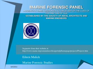 MARINE FORENSIC PANEL A SCIENTIFIC PANEL DEDICATED TO THE STUDY OF THE LOSS OF LIFE AND SHIP AT SEA ESTABLISHED BY THE S