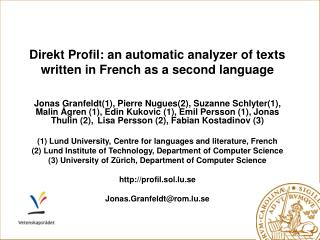 Direkt Profil: an automatic analyzer of texts written in French as a second language