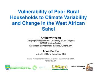 Vulnerability of Poor Rural Households to Climate Variability and Change in the West African Sahel