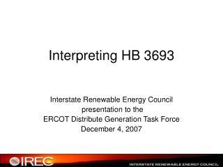 Interpreting HB 3693