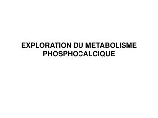 EXPLORATION DU METABOLISME PHOSPHOCALCIQUE