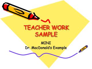 TEACHER WORK SAMPLE