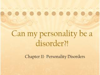 Can my personality be a disorder