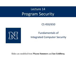 Lecture 14 Program Security