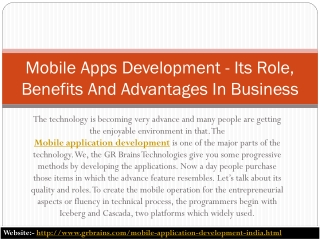 Mobile Apps Development - Its Role, Benefits And Advantages