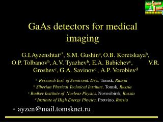 GaAs detectors for medical imaging