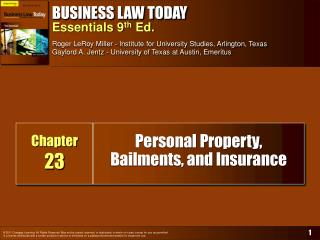 Personal Property, Bailments, and Insurance