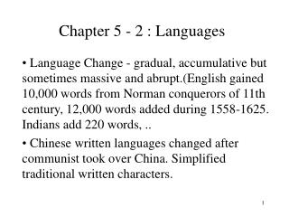 Chapter 5 - 2 : Languages