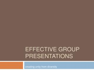 Effective Group Presentations