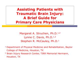 Assisting Patients with Traumatic Brain Injury: A Brief Guide for  Primary Care Physicians