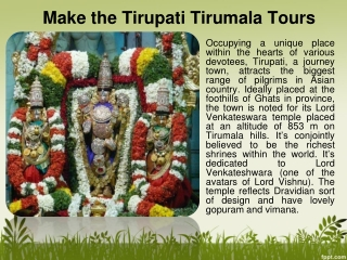 Make the Tirupati Tirumala Tours