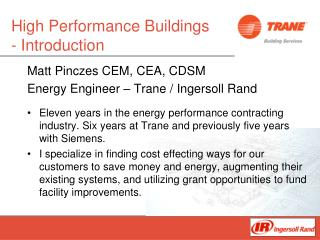 High Performance Buildings - Introduction