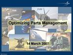 Optimizing Parts Management