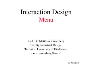 Interaction Design Menu