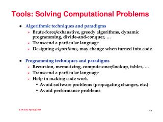 Tools: Solving Computational Problems