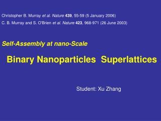 Self-Assembly at nano-Scale     Binary Nanoparticles  Superlattices