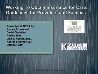 Working To Obtain Insurance for Care:   Guidelines for Providers and Families