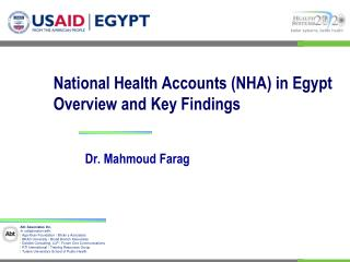 National Health Accounts NHA in Egypt  Overview and Key Findings