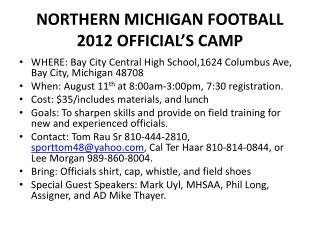 NORTHERN MICHIGAN FOOTBALL 2012 OFFICIAL S CAMP