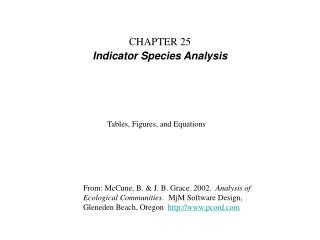 CHAPTER 25 Indicator Species Analysis